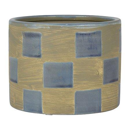 Vaso Marrom e Azul Quadriculado em Cerâmica YH-97 A