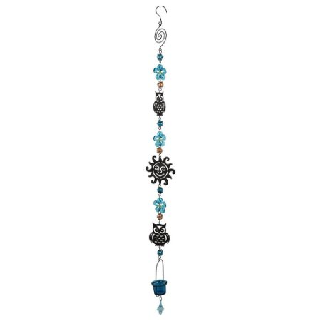 Pendente Coruja com Flor Azul YI-11 B