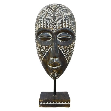 Mascara Tribal Grande em Madeira YI-66
