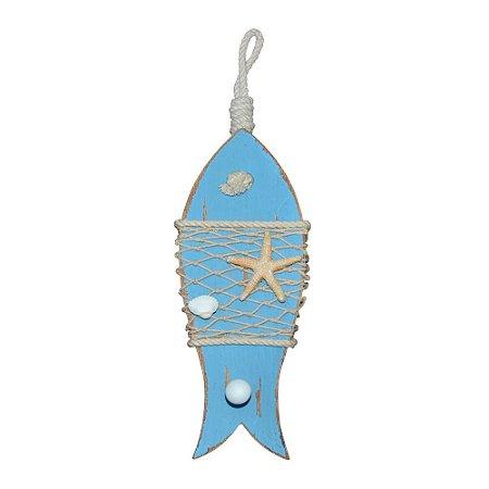 Peixe Azul com Estrela em Madeira YM-16 A