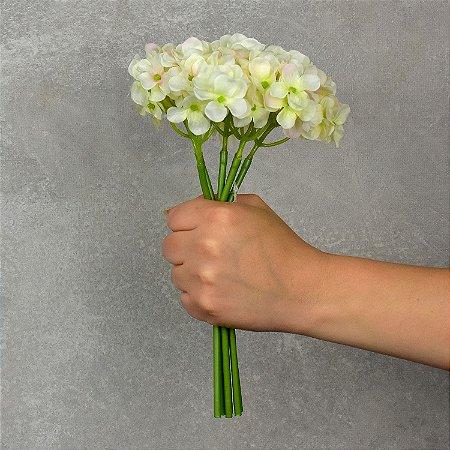 Flor Artificial Hortência Amarela