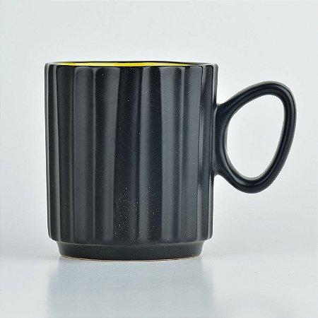 Caneca Black Amarela em Cerâmica YN-33 D