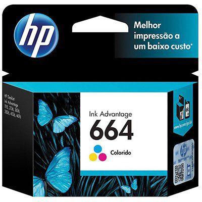 Cartucho HP 664 Colorido Original (F6V28AB) Para HP Deskjet 2136, 2676, 3776, 5076, 5276 CX 1 UN
