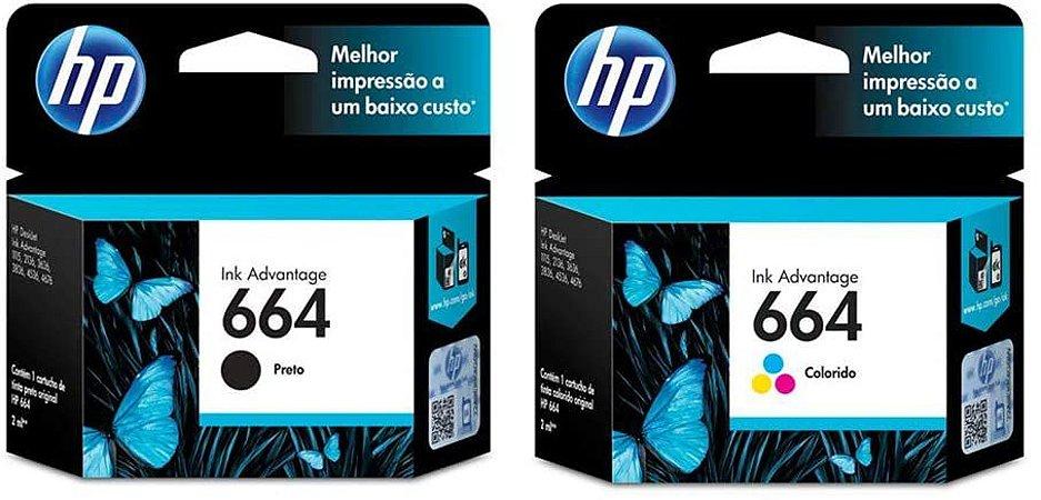 Kit 01 Cartucho HP 664 Preto + 01 Cartucho HP 664 Colorido (ORIGINAIS)