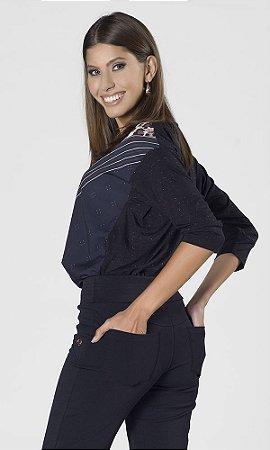 Blusa de Malha com Brilho e Estampa Frontal