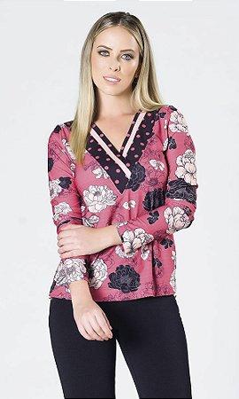 Blusa de Viscolycra com Estampa Floral e Decote V