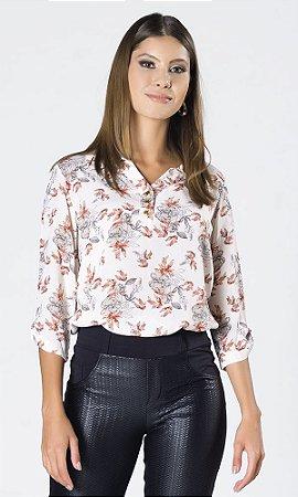 Camisa de Viscose Floral com Piercing na Manga