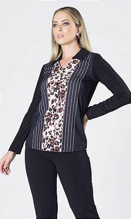 Camisa de Malha com Brilho e Frente Crepe Estampado