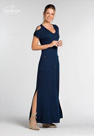 Vestido Longo em Malha Texturizada de Viscose