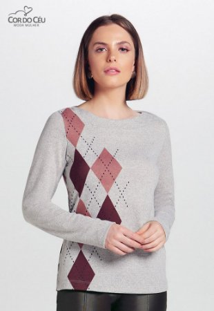 Blusa em Malha Tricot com Estampa
