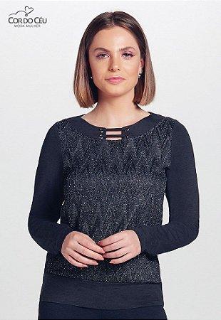 Blusa em Viscolycra Mescla com Malha Rendada Metalizada