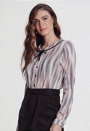 Camisa em Malha Texturizada Poá Aquarelado