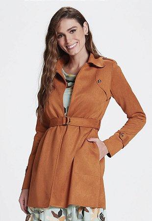 Casaco Trench Coat em Malha Scuba Suede