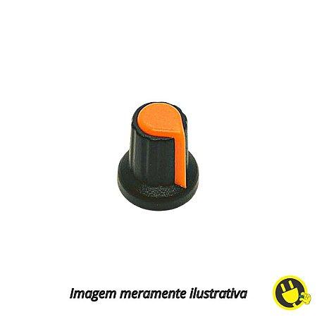 Knob para Potenciômetro Preto com Laranja