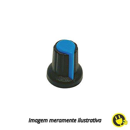 Knob para Potenciômetro Preto com Azul