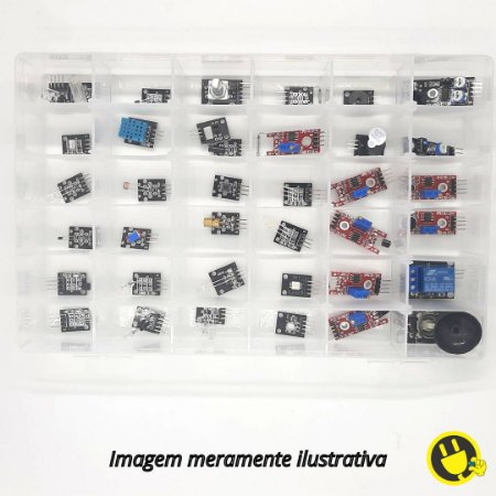 Kit com 37 Módulos e Sensores com Caixa Organizadora
