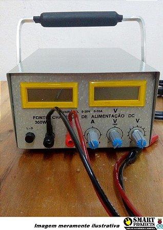 Fonte de bancada ajustável 0~30V 10A