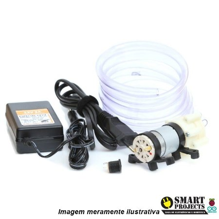 Kit Mini Bomba de água 12v Rs385 + Fonte 12V + Mangueira
