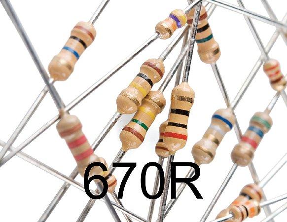 Resistor 1/4W 5% 670R