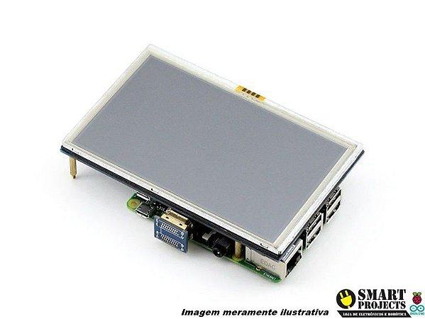 "Display LCD 5"" Polegadas Touch Screen Raspberry Pi 3"