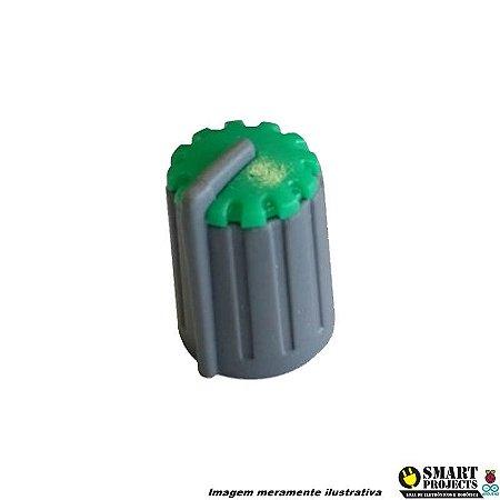 Knob para potenciômetro Cinza com Verde