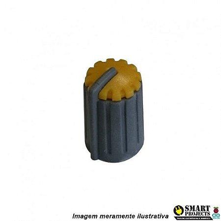 Knob para potenciômetro Cinza com Amarelo