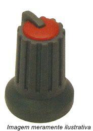 Knob para potenciômetro Cinza com Vermelho