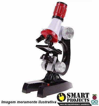 Kit Microscópio Educacional Luz Led Lentes 100x 400x 1200x