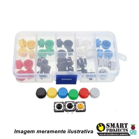 Kit Push Button com Capas Coloridas x50
