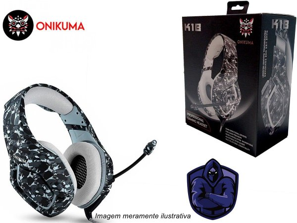 Fone de Ouvido Headset Gamer K1B Camuflado Cinza Onikuma