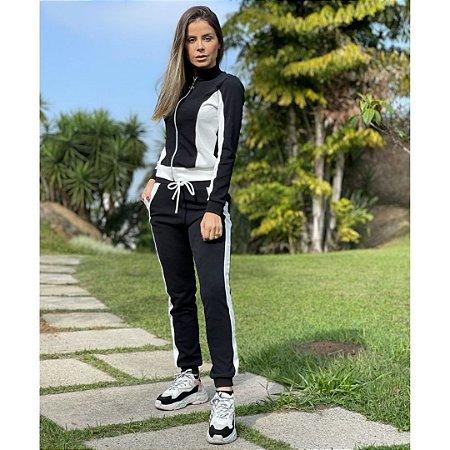 Conjunto Feminino Malha Crepe Larissa com Ziper
