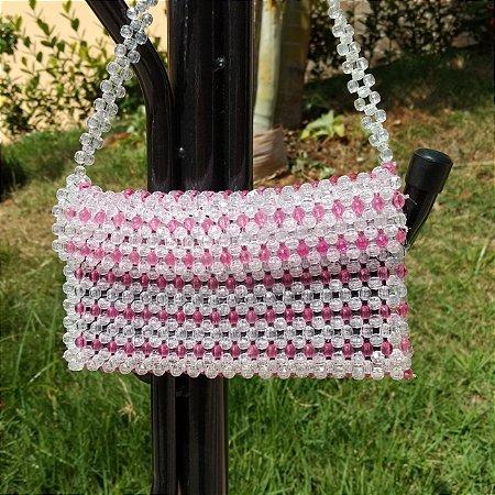Beaded Bag - Bolsa de Miçangas - Transparente e Rosa