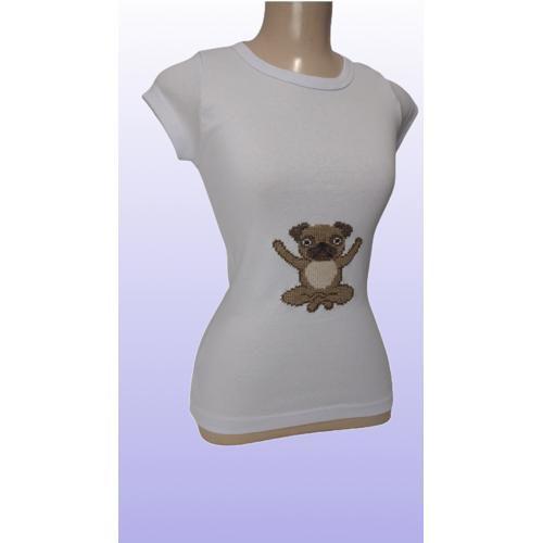 Camiseta T-shirt Baby Look Bordada a Mão - Pug Good Vibe
