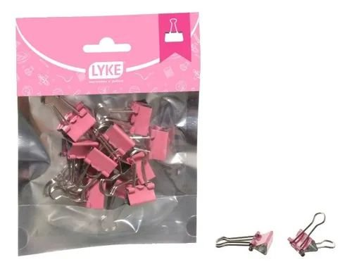 PRENDEDOR PAPEL LYKE BINDER 19MM C/12UN ROSA R.LO101-620