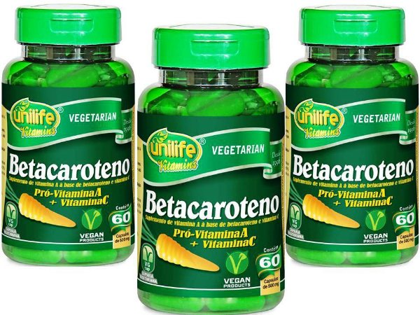"""Beta Caroteno Pró Vitamina """"A"""" + Vitamina """"C"""" 180 capsulas 500 mg"""