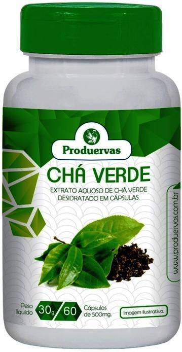 Chá Verde Produervas Concentração 96% Puro 60 capsulas 500 mg