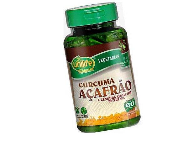 Cúrcuma - Açafrão + Cenoura, Urucum e Beterraba 60 capsulas 500 mg