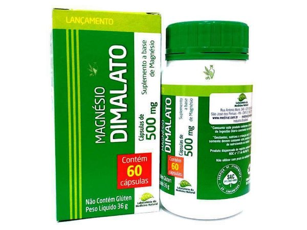 Magnésio Dimalato Beneficios 60 capulas 500 mg