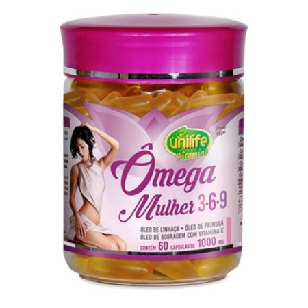 Ômega Mulher 3-6-9  Linhaça Borragem Primula 60 capsulas 1000 mg