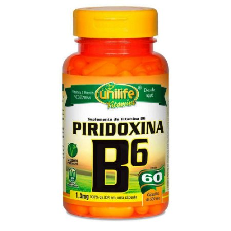 Vitamina B6 Piridoxina 60 capsulas 500 mg