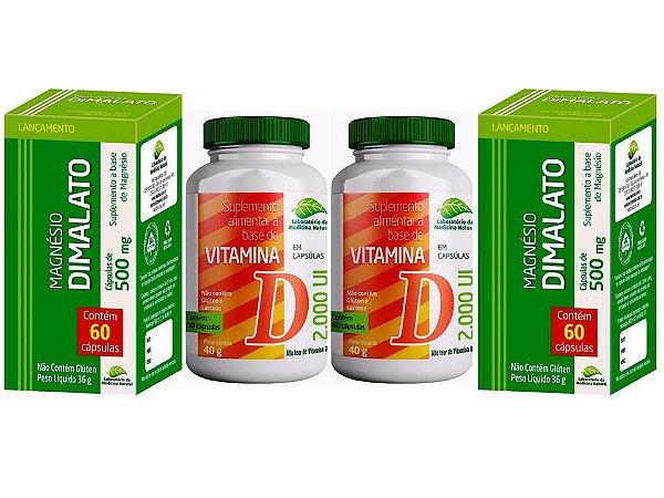 Magnésio Dimalato E Vitamina D3 Articulações Ossos Fortes 4P