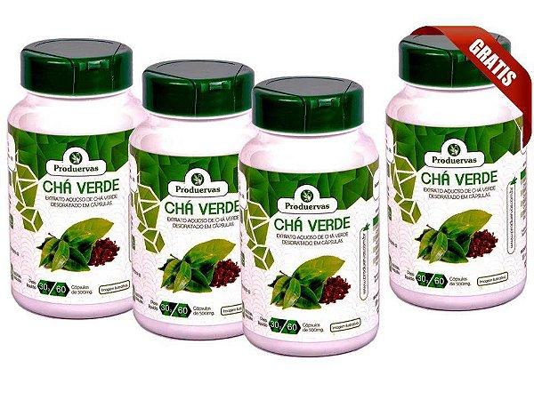 Chá Verde Cápsulas Antioxidante Emagrece Kit 3 Leva 4 Potes