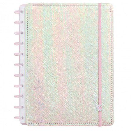 Caderno Inteligente Rosa Holográfico Grande