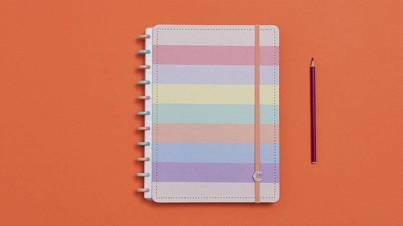 Caderno Inteligente Arco Iris Pastel Grande