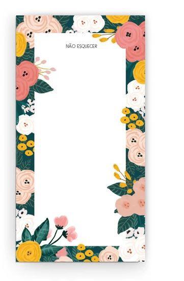 Bloco P com ima Não Esquecer Floral Cecilia