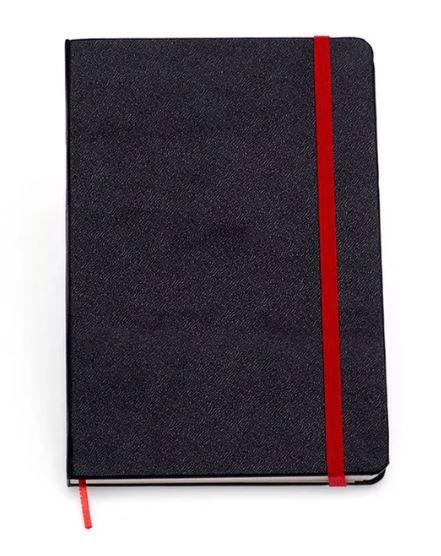 Caderneta Preta Classica Sem Pauta Vermelho 9x13