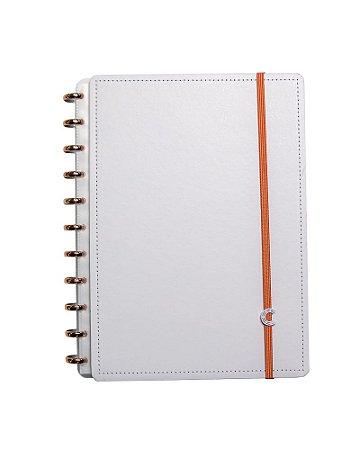 Caderno Inteligente Off White Grande com discos dourados