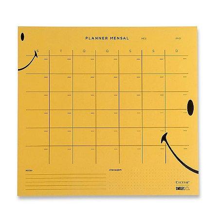 Planner Bloco Mensal Smiley - Amarelo - 29,7 x 27 - mensal