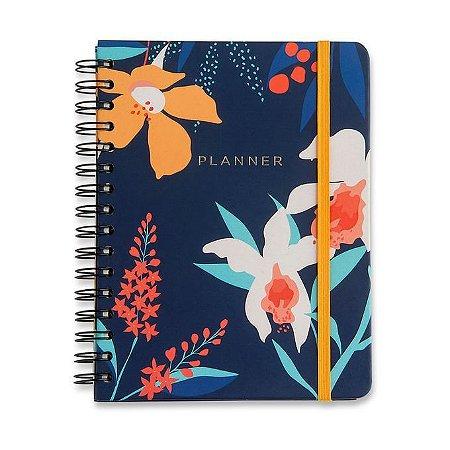 Agenda Planner Completo Mensal e Semanal Floral Azul Marinho Wire-o