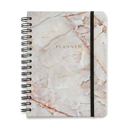 Planner Wire-o Minerais - Mármore Branco - 14,8 x21 - mensal e semanal
